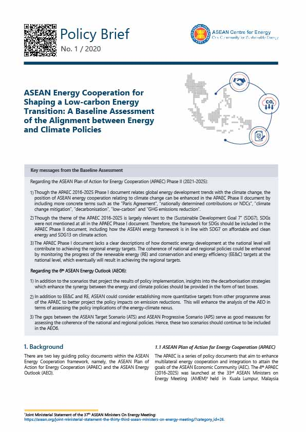 ASEAN Energy Cooperation for Shaping a Low-carbon Energy Transition: A Baseline Assessment of the Alignment between Energy and Climate Policies