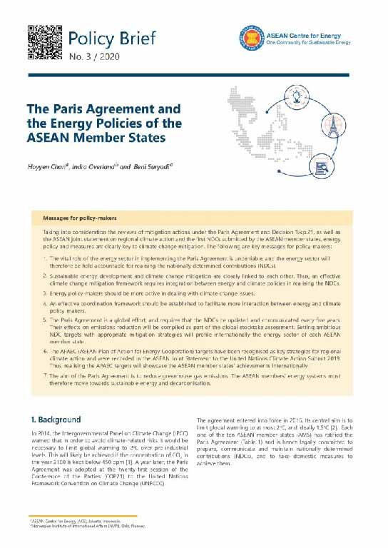The Paris Agreement and the Energy Policies of the ASEAN Member States