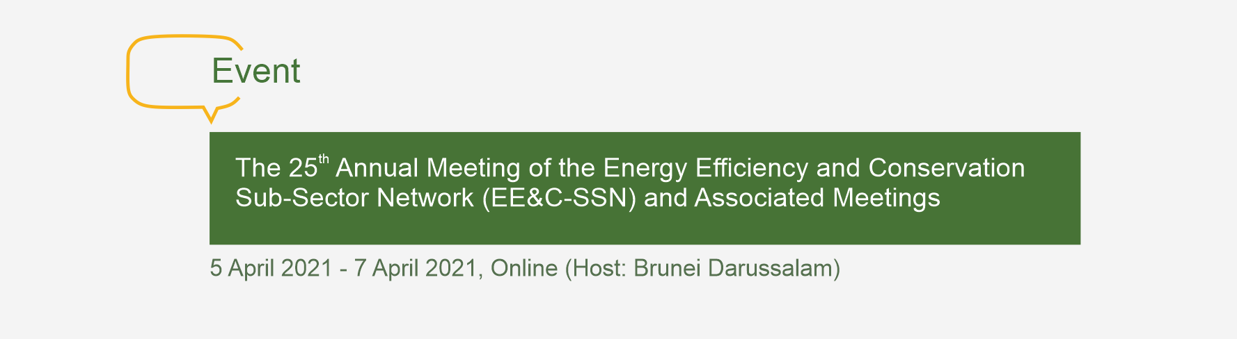 The 25th Annual Meeting of the Energy Efficiency and Conservation Sub-Sector Network (EE&C-SSN) and Associated Meetings