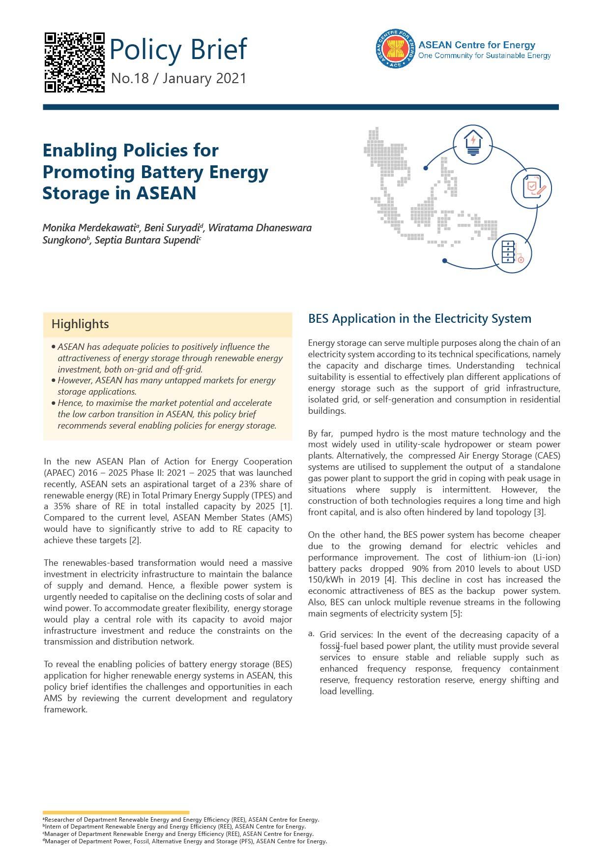 Enabling Policies for Promoting Battery Energy Storage in ASEAN