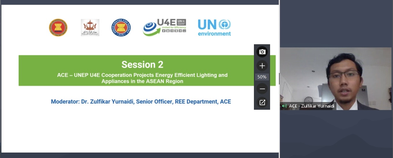 Photo caption: Session 2 ACE – UNEP U4E Cooperation Projects Energy Efficient Lighting and Appliances in the ASEAN Region moderated by Dr. Zulfikar Yurniadi