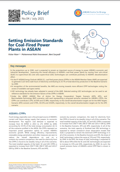 Setting Emission Standards for Coal-Fired Power Plants in ASEAN
