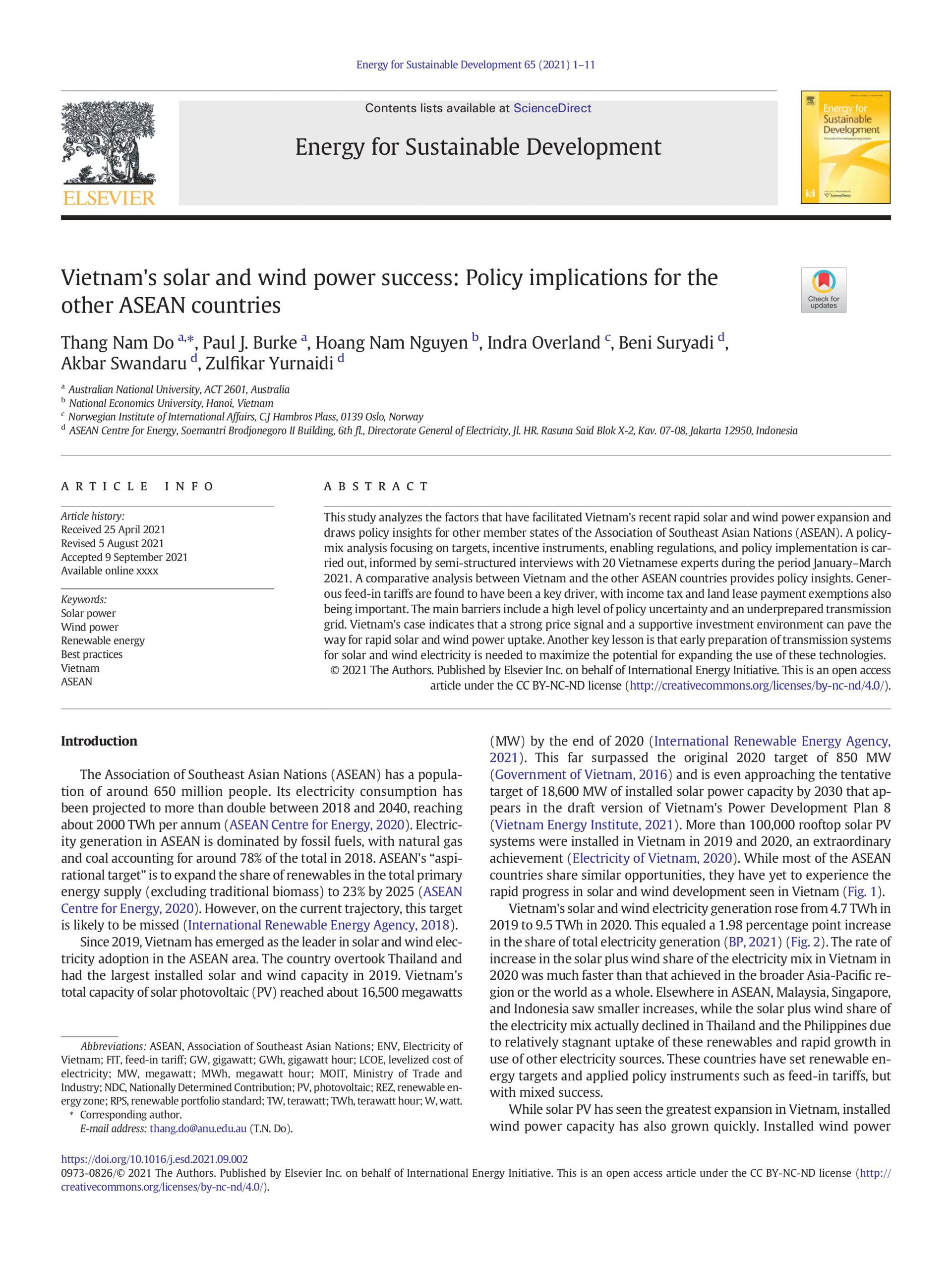 Vietnam's solar and wind power success: Policy implications for the other ASEAN countries